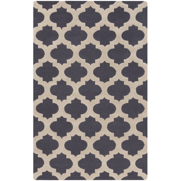 Quaker Navy Geometric Area Rug by Charlton Home