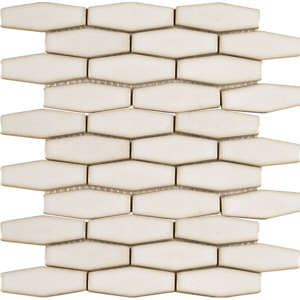 Elongated Hexagon 12 x 12 Ceramic Mosaic Tile in Antique White by MSI