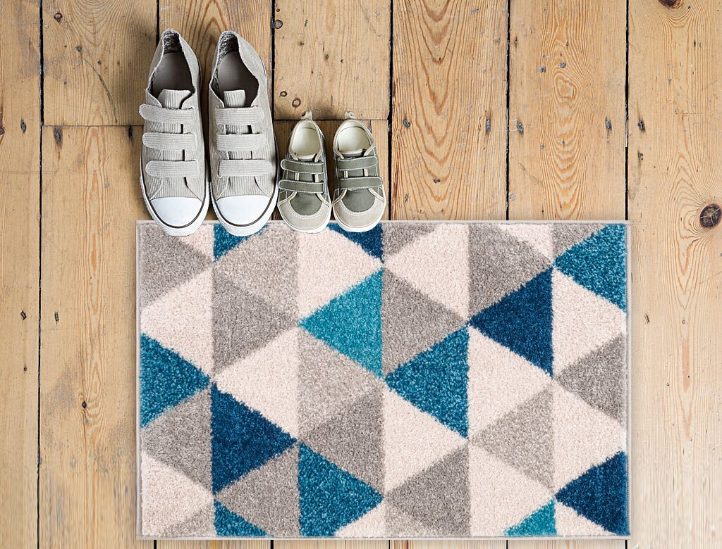 Handweb teppich alpsee in beige blau aus schurwolle größe