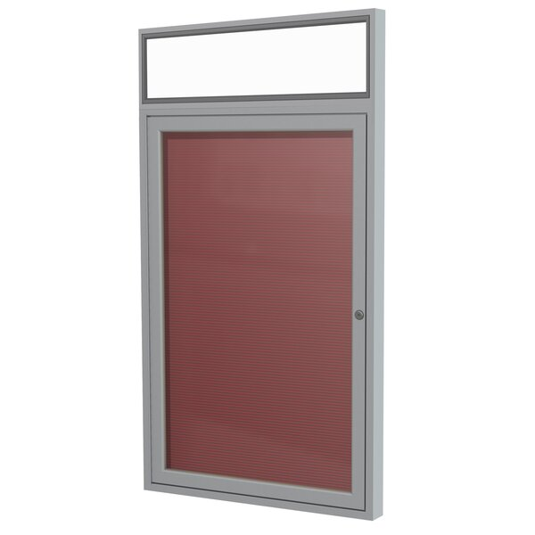 Ghent 1 Door Outdoor Enclosed Vinyl Letter Board with Satin Aluminum Headliner Frame by Ghent