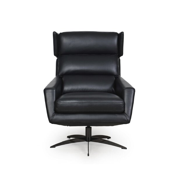 Review Eliora Leather Modern Swivel Club Chair