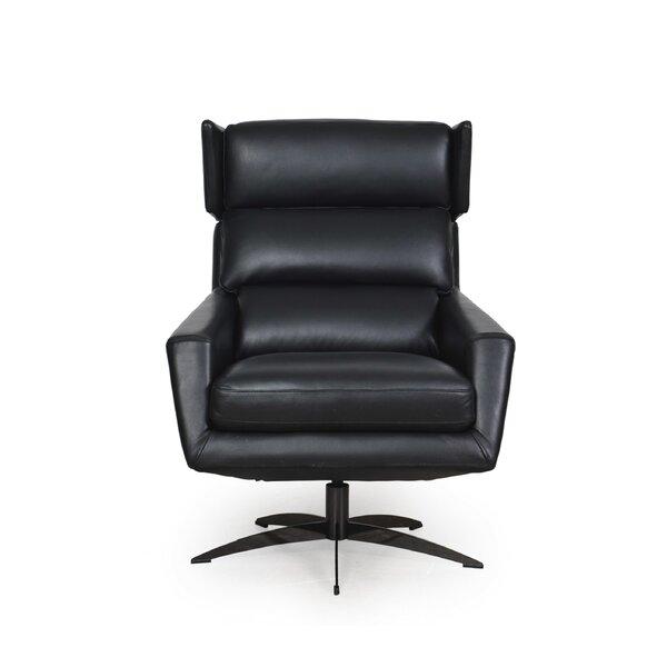 On Sale Eliora Leather Modern Swivel Club Chair