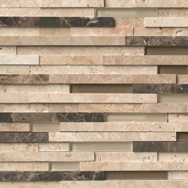 Ashlar Rock Interlocking 3D Pattern Random Sized Glass/Stone Mosaic Tile in Beige by MSI