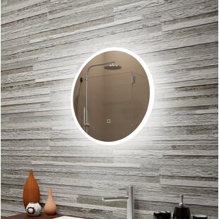Best Reviews Bonar Reflection Dimmable LED Lighted Round Frosted Edge Bathroom/Vanity Mirror By Orren Ellis