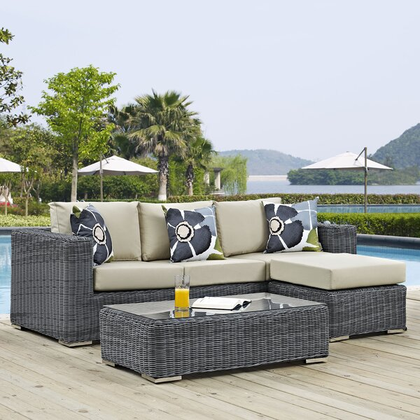 Keiran 5 Piece Rattan Sunbrella Sectional Set with Cushions by Brayden Studio