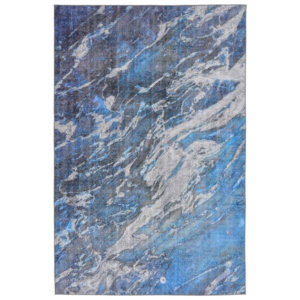 Lotus River Blue Indoor/Outdoor Area Rug by Wrought Studio