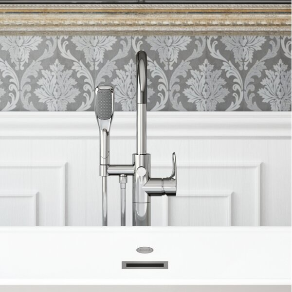 Round Single Handle Freestanding Tub Filler Trim With Hand Shower By Jacuzzi.