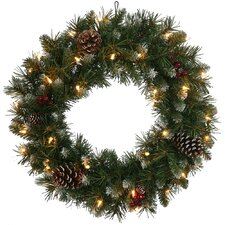 """24"""" Lighted Artificial Frosted Ashberry Pine Christmas Wreath"""