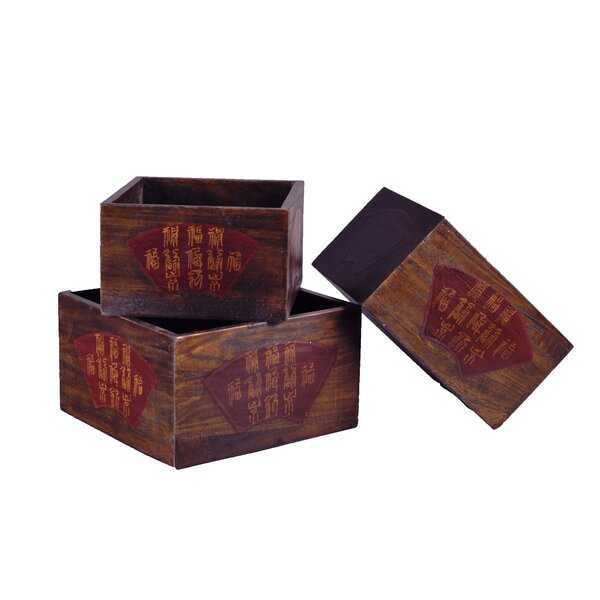 Chinese Wood Planter Box (Set of 3) by Antique Revival