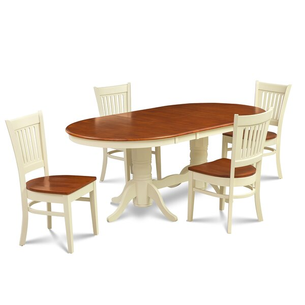 Schacht 5 Piece Solid Rubber Solid Wood Dining Set by Winston Porter