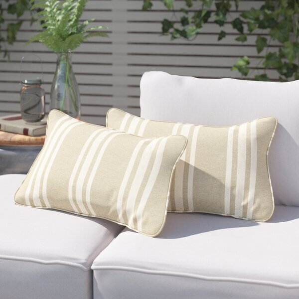 Macon Stripe Indoor/Outdoor Sunbrella Lumbar Pillow by Laurel Foundry Modern Farmhouse