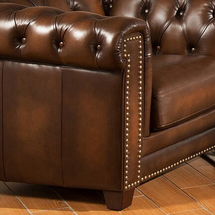Amax Hickory Leather Chesterfield Sofa Amp Reviews Wayfair