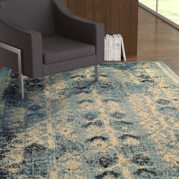 Mya Blue/Cream Area Rug by Ebern Designs