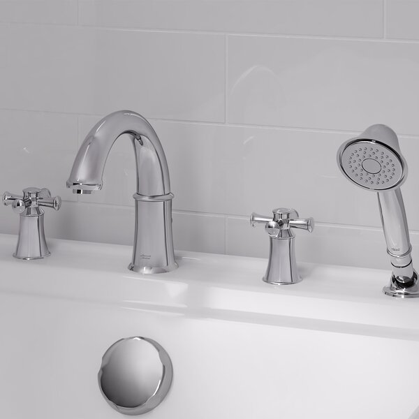 Portsmouth Double Handle Deck Mounted Roman Tub Faucet Trim with Diverter and Handshower by American Standard American Standard