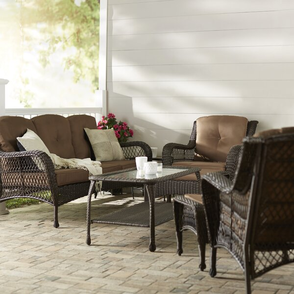 Herrin 6 Piece Rattan Sofa Set with Cushions
