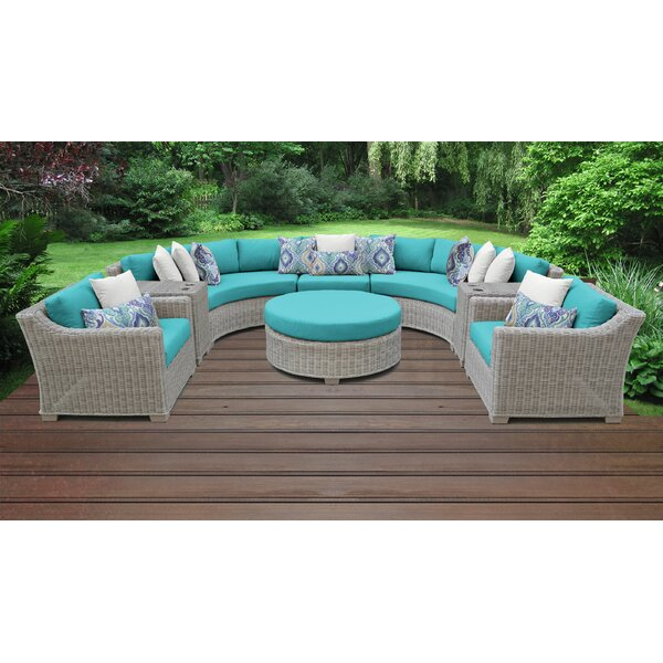 Claire 8 Piece Rattan Sectional Seating Group with Cushions by Rosecliff Heights