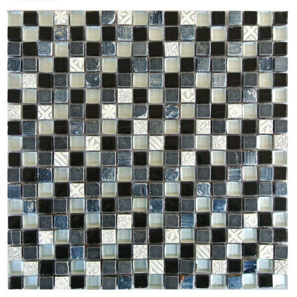 Quartz 0.63 x 0.63 Glass and Stone Mosaic Tile in Gray and White by Abolos