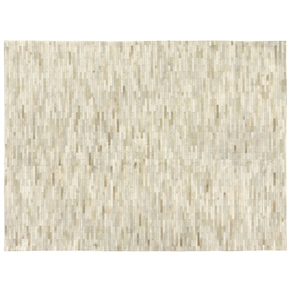 Natural Hide Hand-Tufted Cowhide Brick/Ivory Area Rug by Exquisite Rugs