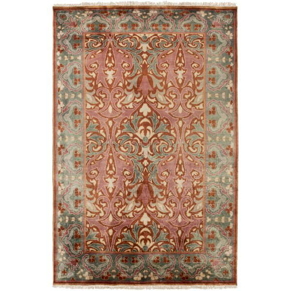 Pritchard Hand Knotted Pink/Gray Area Rug by Darby Home Co