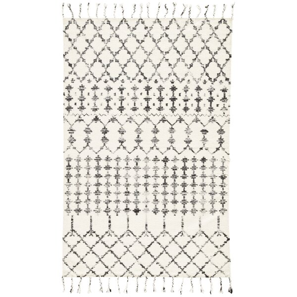 Pardue Hand-Woven Turtledove/Jet Black Area Rug by Bungalow Rose