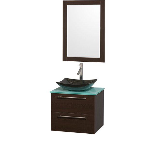 Amare 24 Single Espresso Bathroom Vanity Set with Mirror by Wyndham Collection
