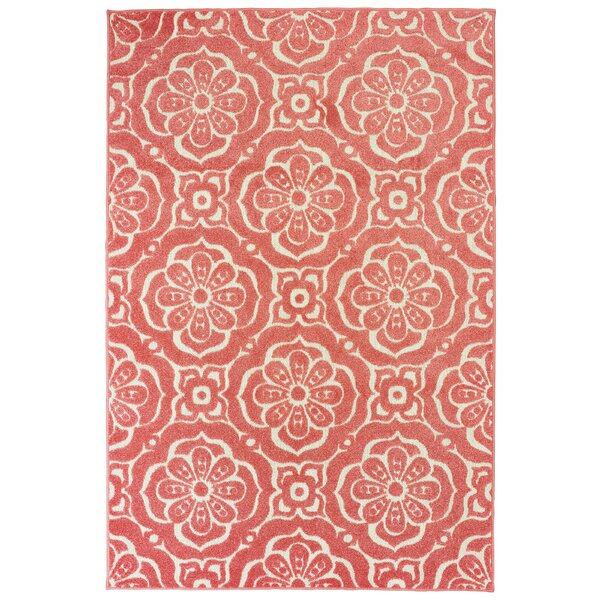 Fluellen Floral Medallions Pink Indoor/Outdoor Area Rug by Bungalow Rose