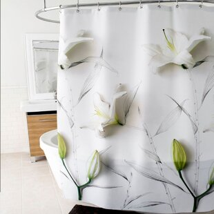 3D Lilies Floral Polyester Shower Curtain ByEast Urban Home