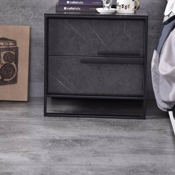 2 - Drawer Metal Nightstand In Gray By Emma's Design