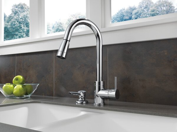 Apex Integrated Pull Down Kitchen Faucet with Soap Dispenser by Peerless Faucets