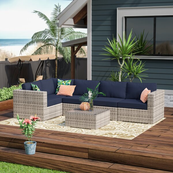 Clovis 6 Piece Rattan Sunbrella Sectional Seating Group with Cushions by Sol 72 Outdoor