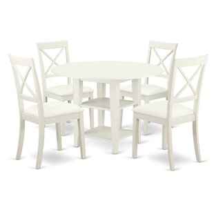 Tyshawn 5 Piece Drop Leaf Solid Wood Dining Set By Charlton Home