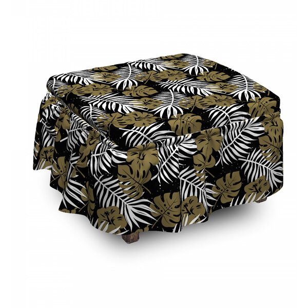 Tropic Foliage Motifs Dots Ottoman Slipcover (Set Of 2) By East Urban Home