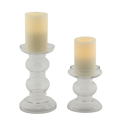 2 Piece Pacific Accents Hampton Glass Candlestick Set by Flipo Group Limited
