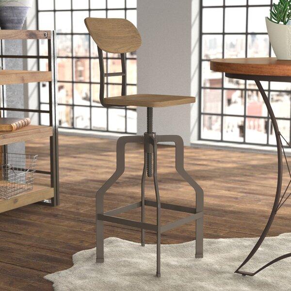 17 Stories Rhodes Adjustable Height Industrial Bar Stool U0026 Reviews | Wayfair