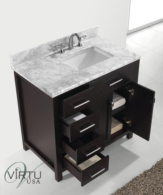 "Bathroom Vanity Sets latitude run stoughton 37"" single bathroom vanity set with carrara"
