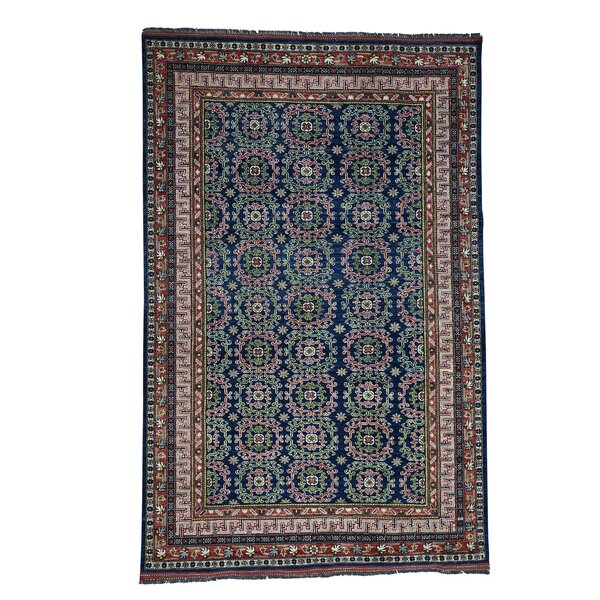 One-of-a-Kind Afghan Ersari Khotan Hand-Knotted Navy Area Rug by Bloomsbury Market