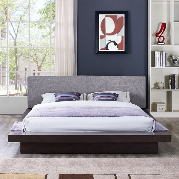 #1 Rennan Queen Upholstered Platform Bed By World Menagerie Today Sale Only