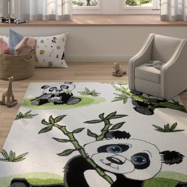 Ketchum Panda Bamboo White/Black Area Rug by Zoomie Kids