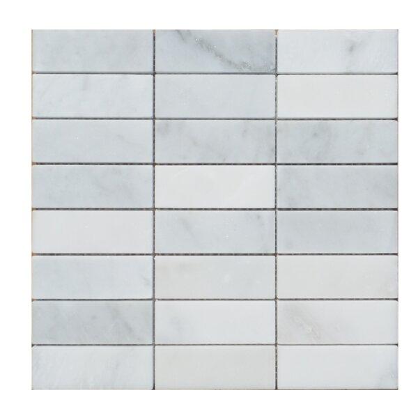 Stacked Honed Carrara Natural Stone Mosaic Tile in Carrara by Mulia Tile