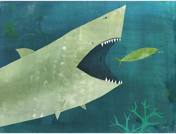 Uh Oh Shark Canvas Art by Oopsy Daisy