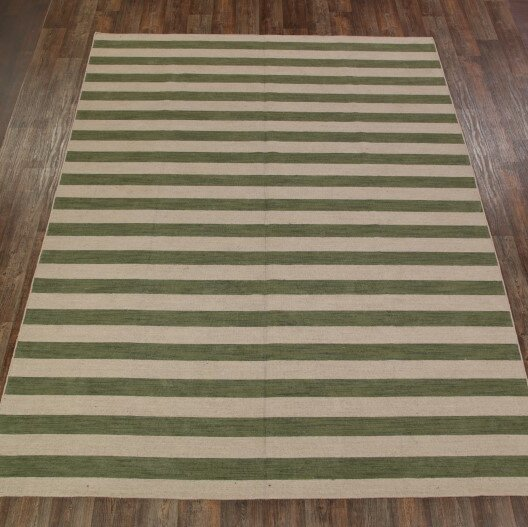 One-of-a-Kind Fortune Hand-Knotted Wool Beige/Green Area Rug by Ebern Designs