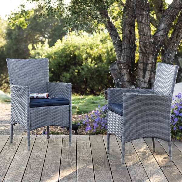 Centauri Patio Dining Chair with Cushion (Set of 2) by Orren Ellis Orren Ellis
