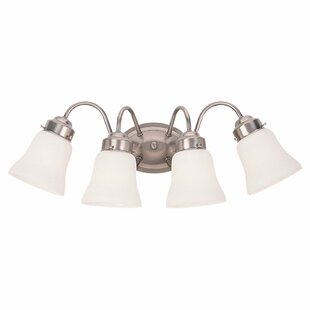 Reviews Darmstadt 4-Light Glass Shade Vanity Light By Three Posts