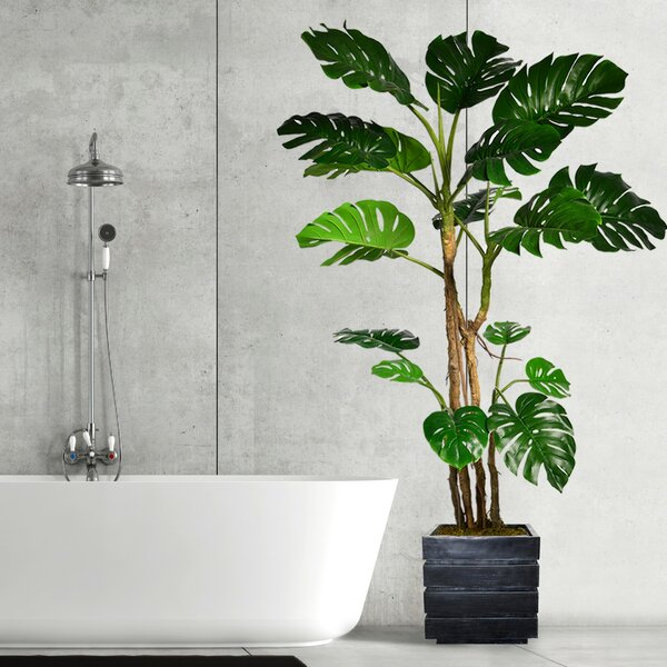 Monstera Artificial Home Décor Floor Foliage Tree in Planter by Langley Street