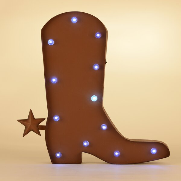 Rustic Marquee LED Lighted Western Cowboy Boot Sign Wall Décor by Glitzhome