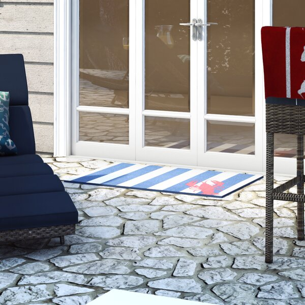 Greenhills Lobster Navy/White Area Rug by Beachcrest Home