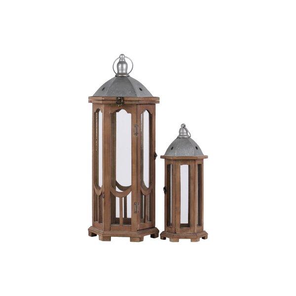 Hexagonal 2 Piece Wood Lantern Set by Bloomsbury Market