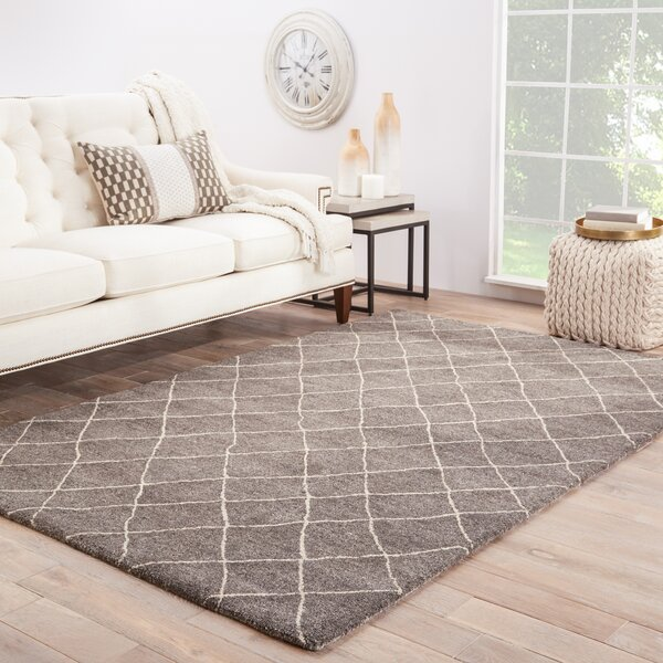Reyansh Hand-Woven Wool Gray/Ivory Rug by Brayden Studio