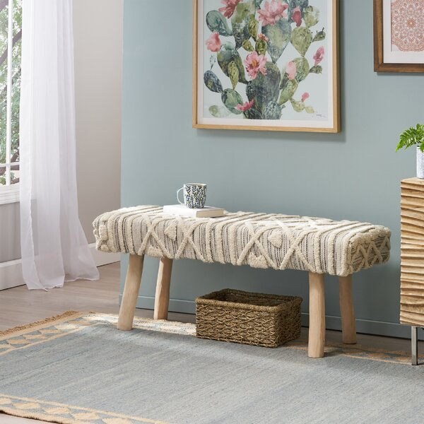 Bernadette Upholstered Bench by Bungalow Rose Bungalow Rose