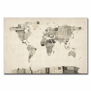 Vintage Postcard World Map Graphic Art on Wrapped Canvas by Michael Tompsett by Trademark Fine Art